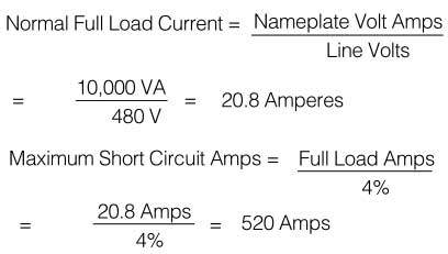 Determine a minimum circuit breaker trip rating and interrupting capacity for a 10 kVA single phase transformer with 4{e3f30b17d1e2ee29a456ac094afcdceaab760d87d11dd966225a50cd59ff675b} impedance, to be operated from a 480 volt 60 Hz source.