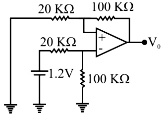 The op-amp in the circuit shown in the figure works in linear mode. The output voltage Vo is