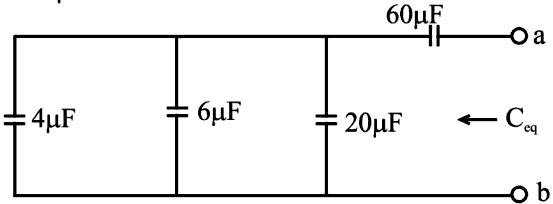Find the equivalent capacitance, Ceq, at the terminals a-b of the circuit
