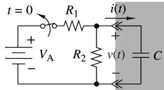 The switch in the circuit has been closed for a long time, and it is opened at time t=0. Find v(t) for t ≥ 0.