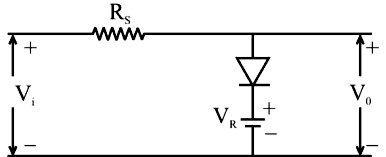 In the diode circuit shown in the V1=10 sin 314.159 t V and VR= 5 V.
