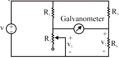 In the given Wheatstone bridge, R1 = 500Ω, R3 = 200Ω. The bridge is balanced when R2 is adjusted to 125Ω. Find the resistance Rx