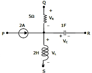 A segment of a circuit is shown in the figure below. if VR=5V and Vc = 4 sin2t V, the voltage VL is