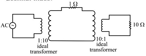In the circuit shown, assume that the voltage source and transformers are ideal. The AC voltage source is 10√2 sin(100πt) V.