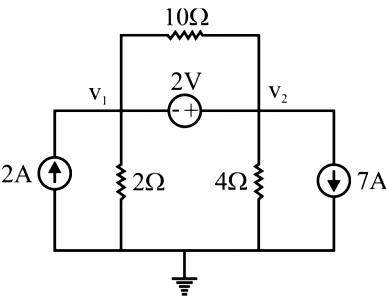 For the circuit shown in the figure, find the node voltages V1 and V2.