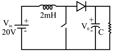 In a boost converter shown in the figure, the duty cycle is 0.5. The inductor current is assumed to be continuous.