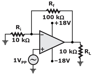 For the non-inverting amplifier as shown, find the closed loop voltage gain.